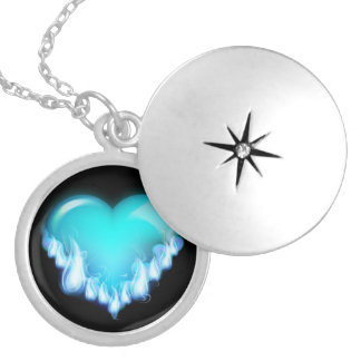 Blue-flaming-heart.png love icecold icy tough round locket necklace