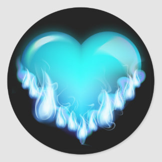 Blue-flaming-heart png love icecold icy tough round sticker