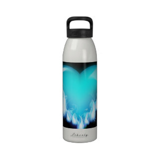 Blue-flaming-heart png love icecold icy tough water bottle