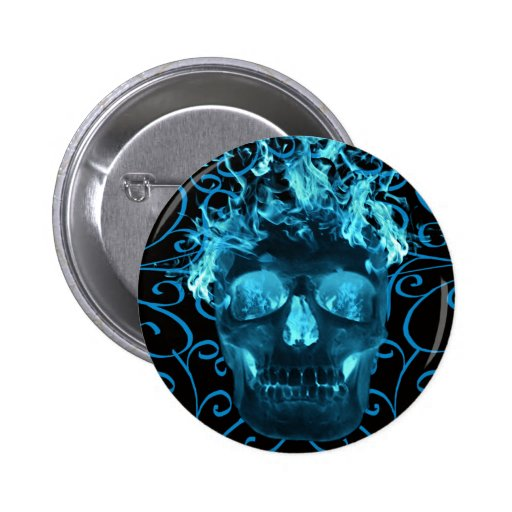 Blue Flaming Skull Button