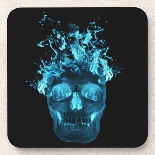 Blue Flaming Skull Coasters