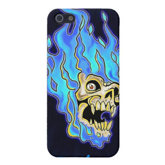 Blue Flaming Skull Cover For iPhone SE/5/5s