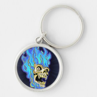 Blue Flaming Skull Design Keychain