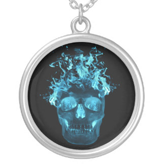 Blue Flaming Skull Necklace