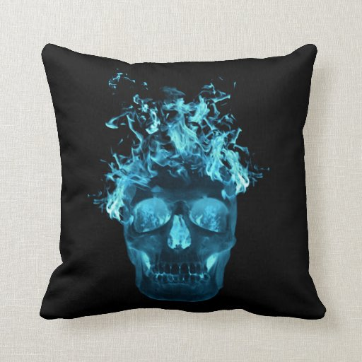 Blue Flaming Skull Reversible Pillow