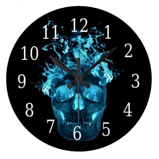 Blue Flaming Skull Round Clock