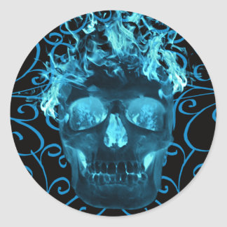 Blue Flaming Skull Stickers