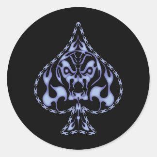 Blue Flaming Spade Skull Classic Round Sticker