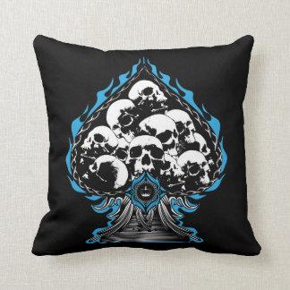 Blue Flaming Spade with Skulls Pillow