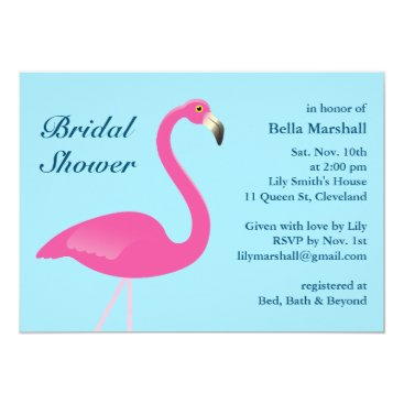 Beach Themed Blue Flamingo Beach Bridal Shower Invitation