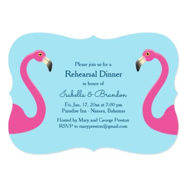 Beach Themed Blue Flamingo Beach Rehearsal Dinner Invitation