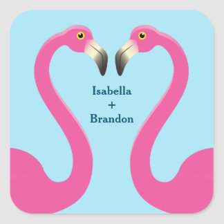 Blue Flamingo Beach Wedding Sticker