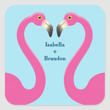 Beach Themed Blue Flamingo Beach Wedding Sticker