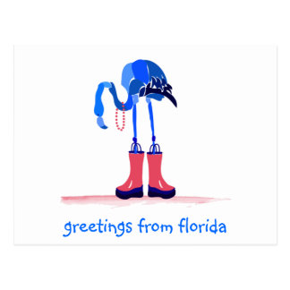 Blue Flamingo, Greetings from Florida Postcard