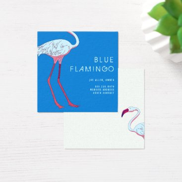 Beach Themed Blue Flamingo Square Business Cards
