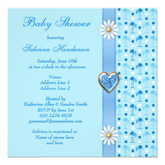Blue Flamingos, Printed Bow & Hearts Baby Shower Card