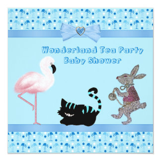 Blue Flamingos Wonderland Tea Party Baby Shower Card