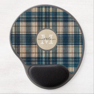 Blue Flannel Background Monogram Gel Mouse Pad