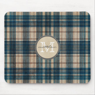 Blue Flannel Background Monogram Mouse Pad