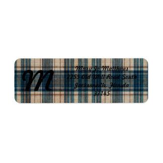 Blue Flannel Plaid Background Label