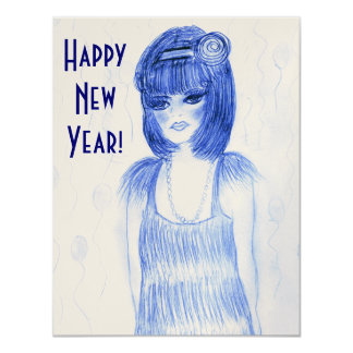 Blue Flapper Girl New Year Invites