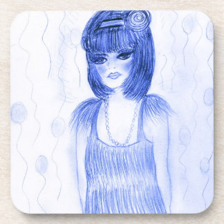 Blue Flapper Party Girl Beverage Coaster