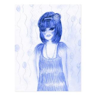 Blue Flapper Party Girl Postcard