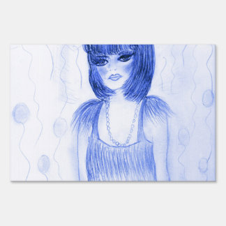 Blue Flapper Party Girl Yard Sign