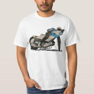 Blue Flat Track & Speedway Motorcycle Racer Tee Shirt