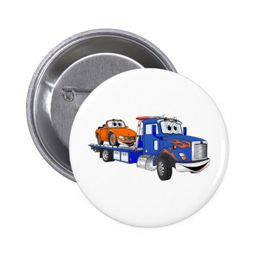 Blue Flatbed Tow Truck 2 Inch Round Button