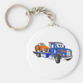 Blue Flatbed Tow Truck Basic Round Button Keychain