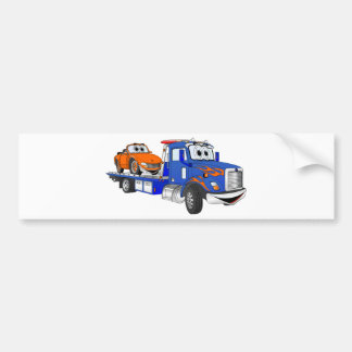 Blue Flatbed Tow Truck Bumper Sticker