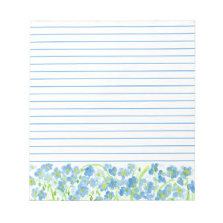 Blue Flax Watercolor Flowers Lined Note Pad