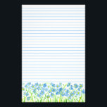 "Blue Flax Watercolor Flowers Lined Stationery<br><div class=""desc"">A soft and pretty lined stationery paper decorated with blue flowering flax painted in watercolor. Lovely for writing letters,  journaling,  lists and more!</div>"