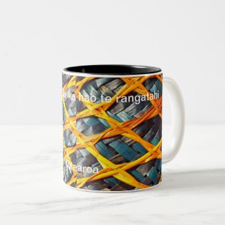 Blue Flax Weave Basket Aotearoa 3 fishing net Two-Tone Coffee Mug