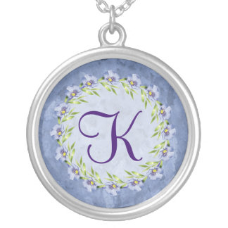 Blue Flax Wildflowers Round Monogram Necklace