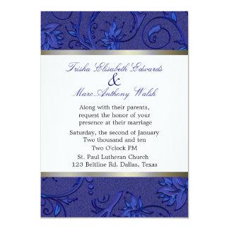 Blue Fleur Damask Wedding Card