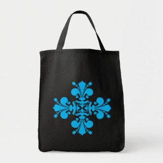 Blue fleur de lis damask motif on black tote bag