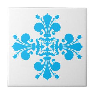 Blue fleur de lis damask motif tile
