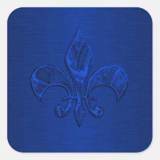 Blue Fleur de Lis Envelope Seal Square Sticker
