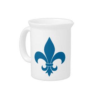 Blue Fleur de lis French Pattern Parisian Design Beverage Pitchers