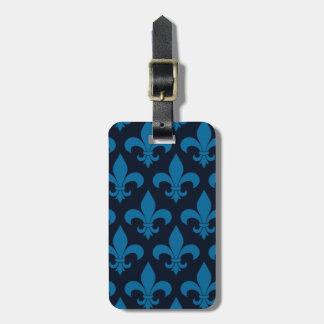 Blue Fleur de lis French Pattern Parisian Design Travel Bag Tags