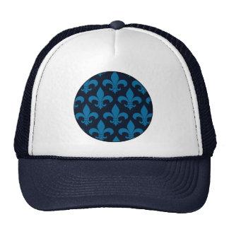 Blue Fleur de lis French Pattern Parisian Design Trucker Hat