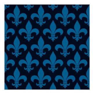 Blue Fleur de lis French Pattern Parisian Design Perfect Poster