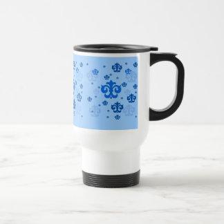 Blue Fleur de Lis Scattered About 15 Oz Stainless Steel Travel Mug