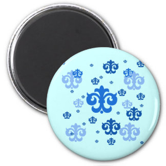 Blue Fleur de Lis Scattered About 2 Inch Round Magnet