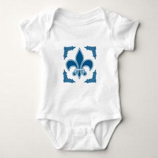 Blue Fleur de Lis with Ornate Border Baby Bodysuit
