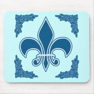 Blue Fleur de Lis with Ornate Border Mouse Pad