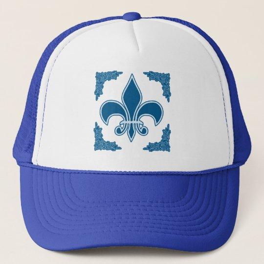 Blue Fleur de Lis with Ornate Border Trucker Hat