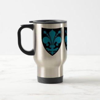 Blue fleur de lys on black shield gothic punk mug